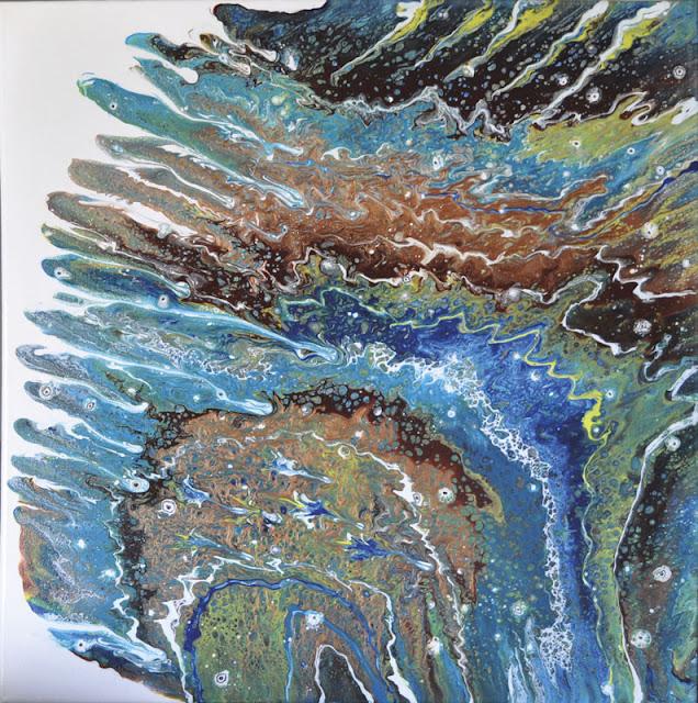Apache peinture dans le style fluid art par Mercedes Lafuente