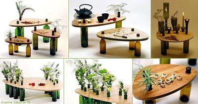 Meja Dekorasi Dengan Botol Bekas Kerajinan Tangan Unik dan Mudah