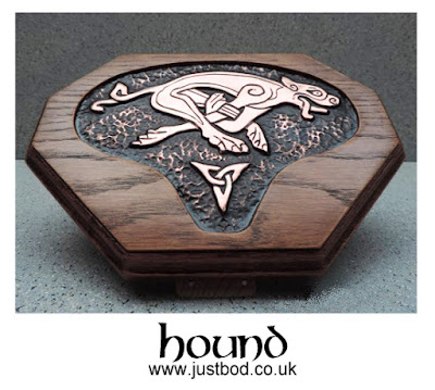 Hand sculpted copper & oak Celtic dog wall plaque