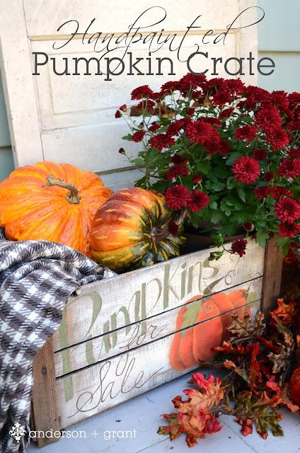 Hand Painted Pumpkin Crate | www.andersonandgrant.com