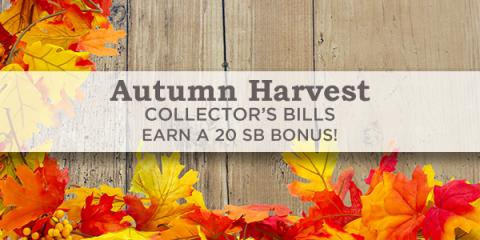 Image: Swagbucks is offering a bonus for you in the form of Autumn Harvest Collector's Bills!