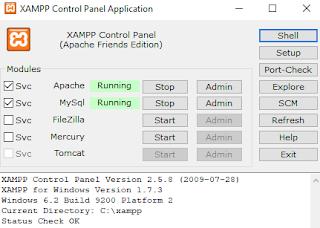 Buka aplikasi Xampp dan setting control panel Xampp