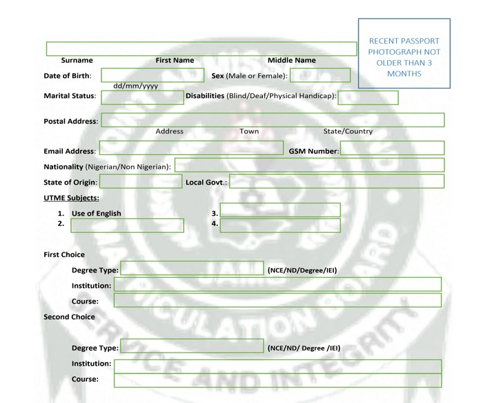 Expo; JAMB 2018/2019 UTME Registration Form Template (For Nigerians & Foreign Candidate)