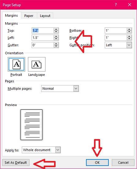 how to set microsoft word default font size