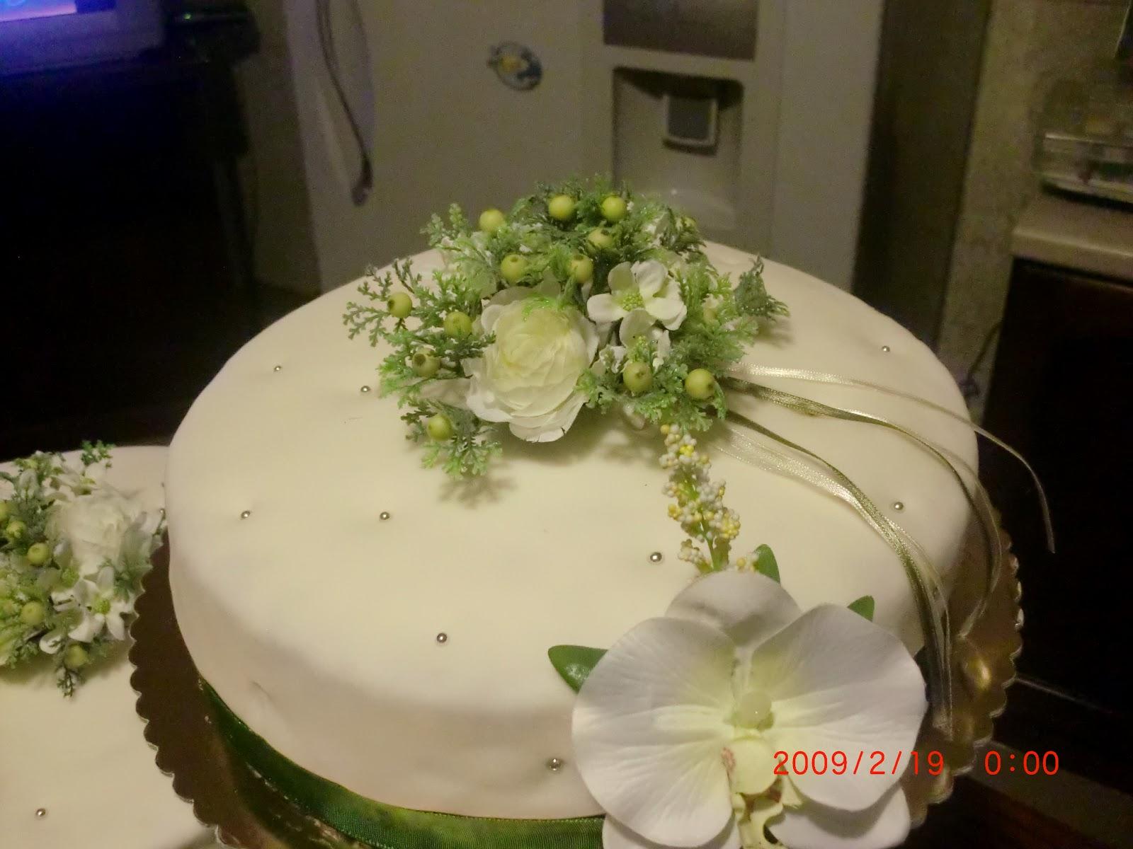 Ho ricoperto la torta con pasta di zucchero e decorato con nastro di ...