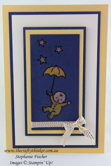 www.thecraftythinker.com.au, Moon Baby, Bleaching Technique, #thecraftythinker, Baby card, Stampin Up Australia Demonstrator, Stephanie Fischer, Sydney NSW