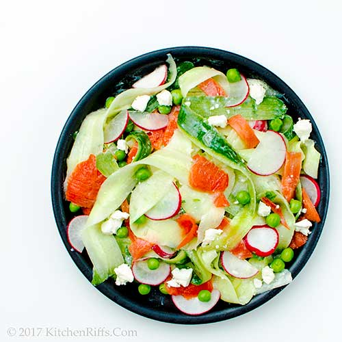 Cucumber and Smoked Salmon Salad with Feta