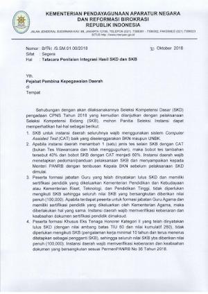 Surat Edaran Kemenpan tentang Tata Cara Integrasi Nilai SKD+SKB