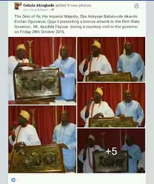Check in to See The Bronze Artwork Ooni Of Ife Gave Governor Fayose As A Gift