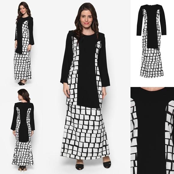 Fesyen Baju Kurung Moden Terkini Black White Monochrome Cempaka By Butik Sireh Pinang