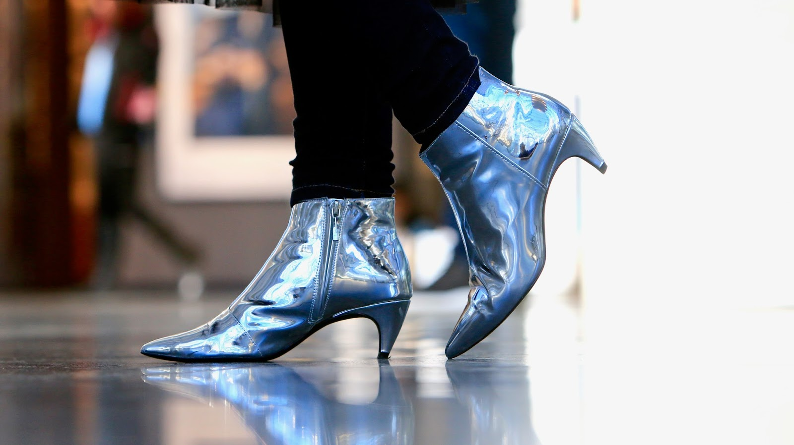 metallic silver booties