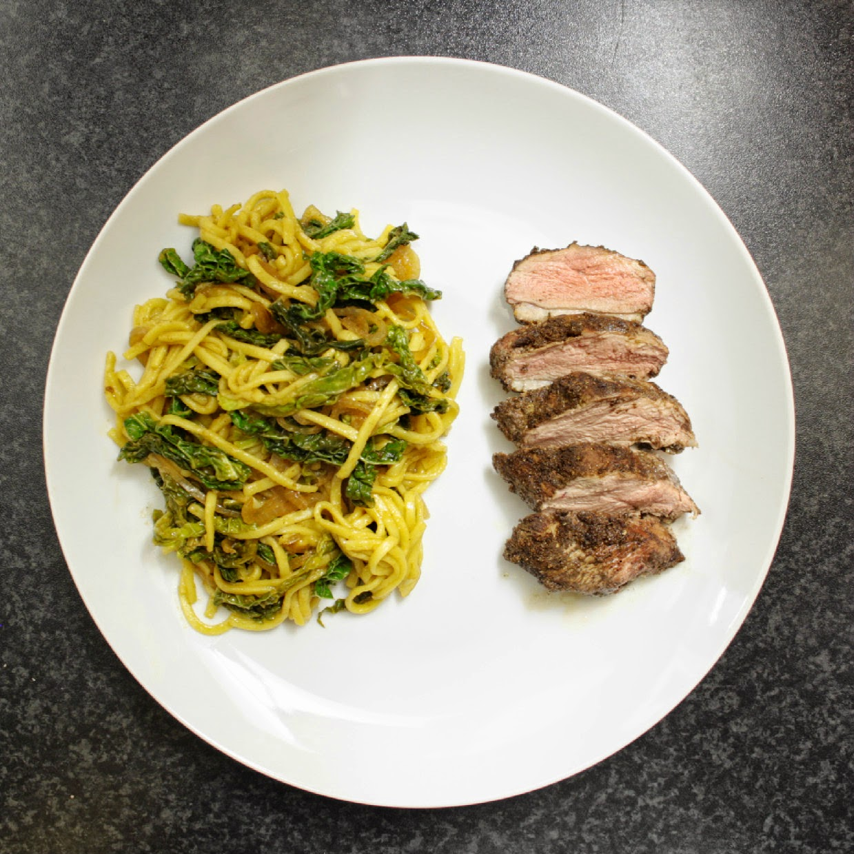 Spiced duck with chilli cabbage and miso noodles - another treat from the folks at Simply Cook (and my favourite one yet).  All the herbs and spices you need are included in the recipe kit, just add the fresh ingredients!