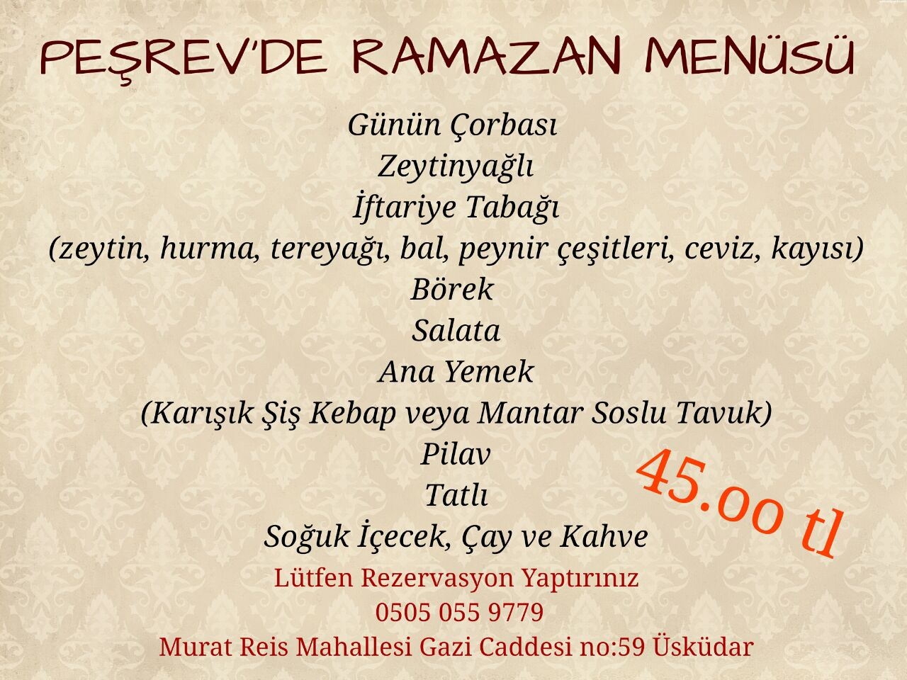 peşrev bağlarbaşı üsküdar istanbul iftar menü