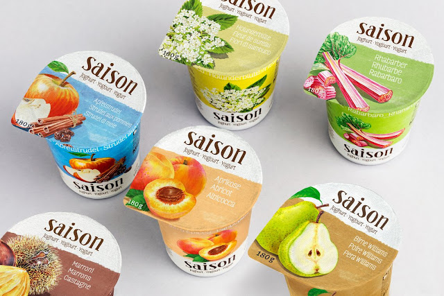 Migros Saison Yogurts with watercolour illustrations by Irina Sztukowski