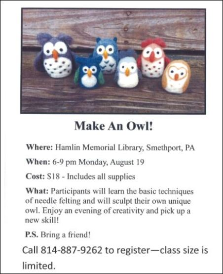 8-19 Make an Owl at Hamlin Memorial Library