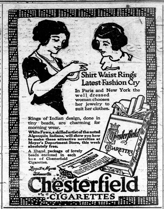 Chesterfield and beads advertisement 1914