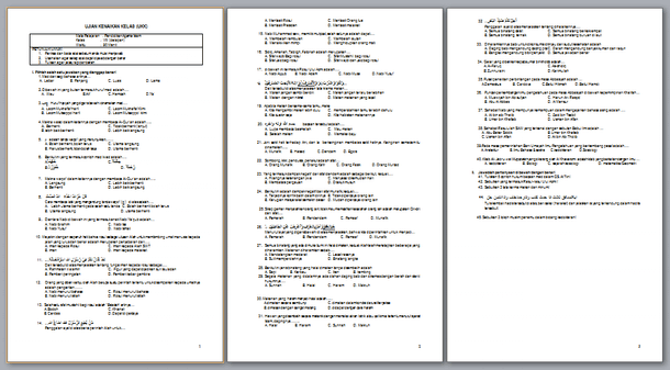 Soal Latihan dan Jawaban UKK (Ulangan Kenaikan Kelas) PAI SMP Kelas 8 (VIII)