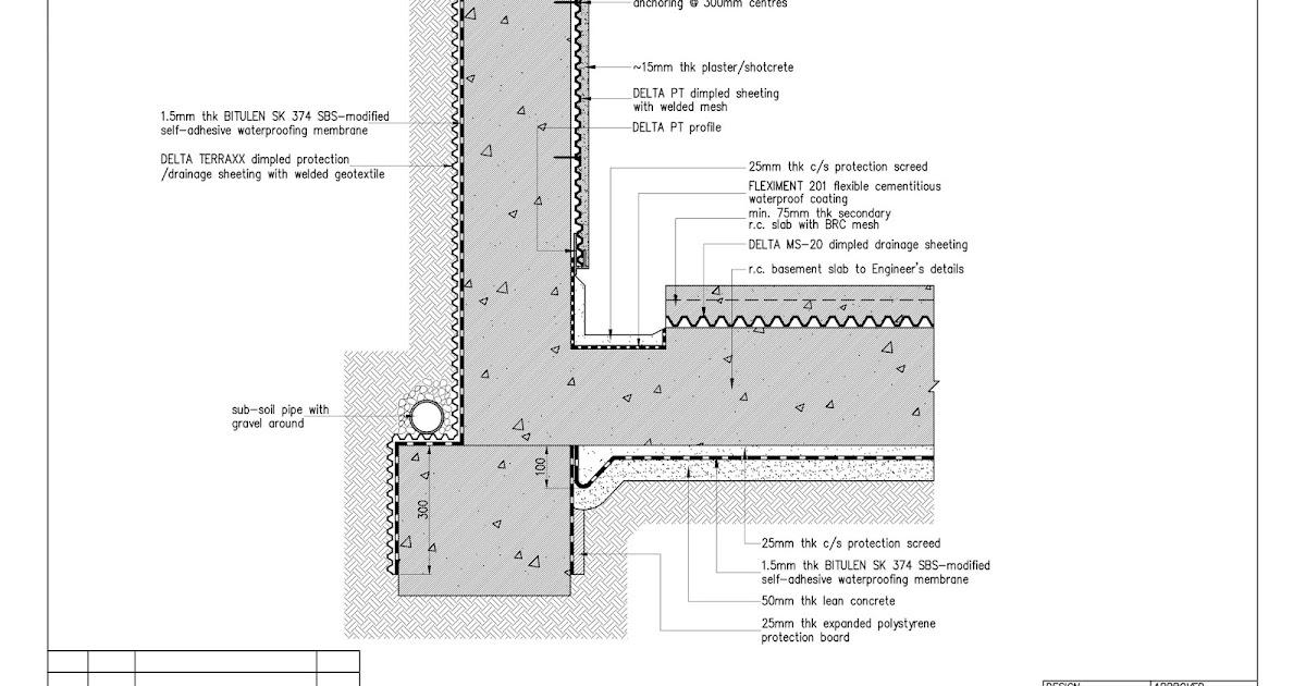 Waterproofing Detail Sheets : Tortilla revit waterproofing drainage