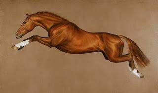 caballo de carrera saltando cuadro en oleo