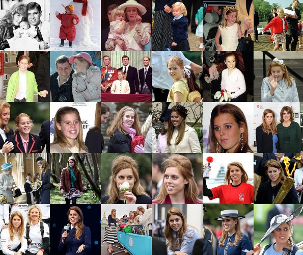 The royal family both tweeted and Instagrammed a collage of some never-before-seen photos to mark Beatrice's big day