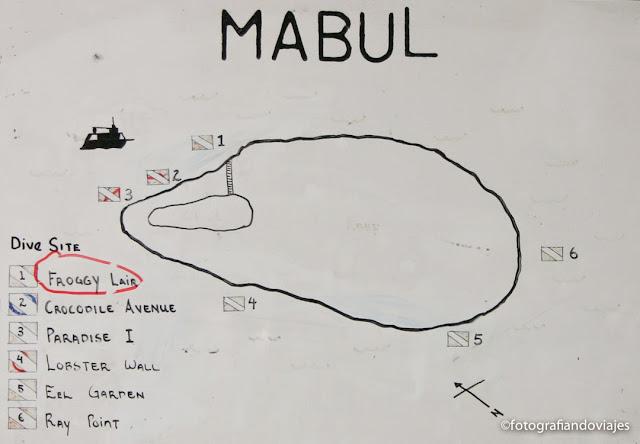 Mapa puntos de inmersión buceo en Mabul