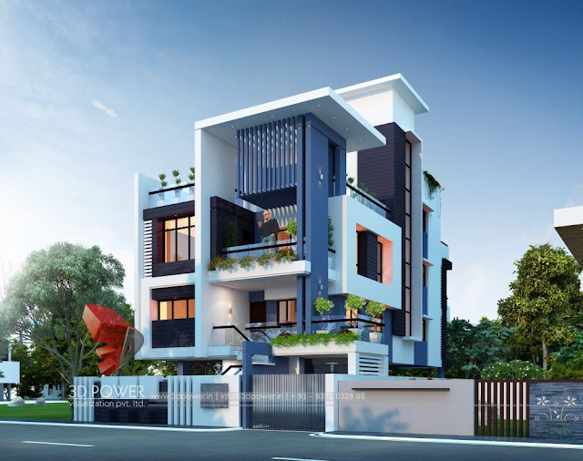 3D Villa Elevation Day View