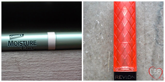 Revlon Colorburst Lip Butter in Tutti Frutti and Carmex Moisture Plus Lip Balm in Pink