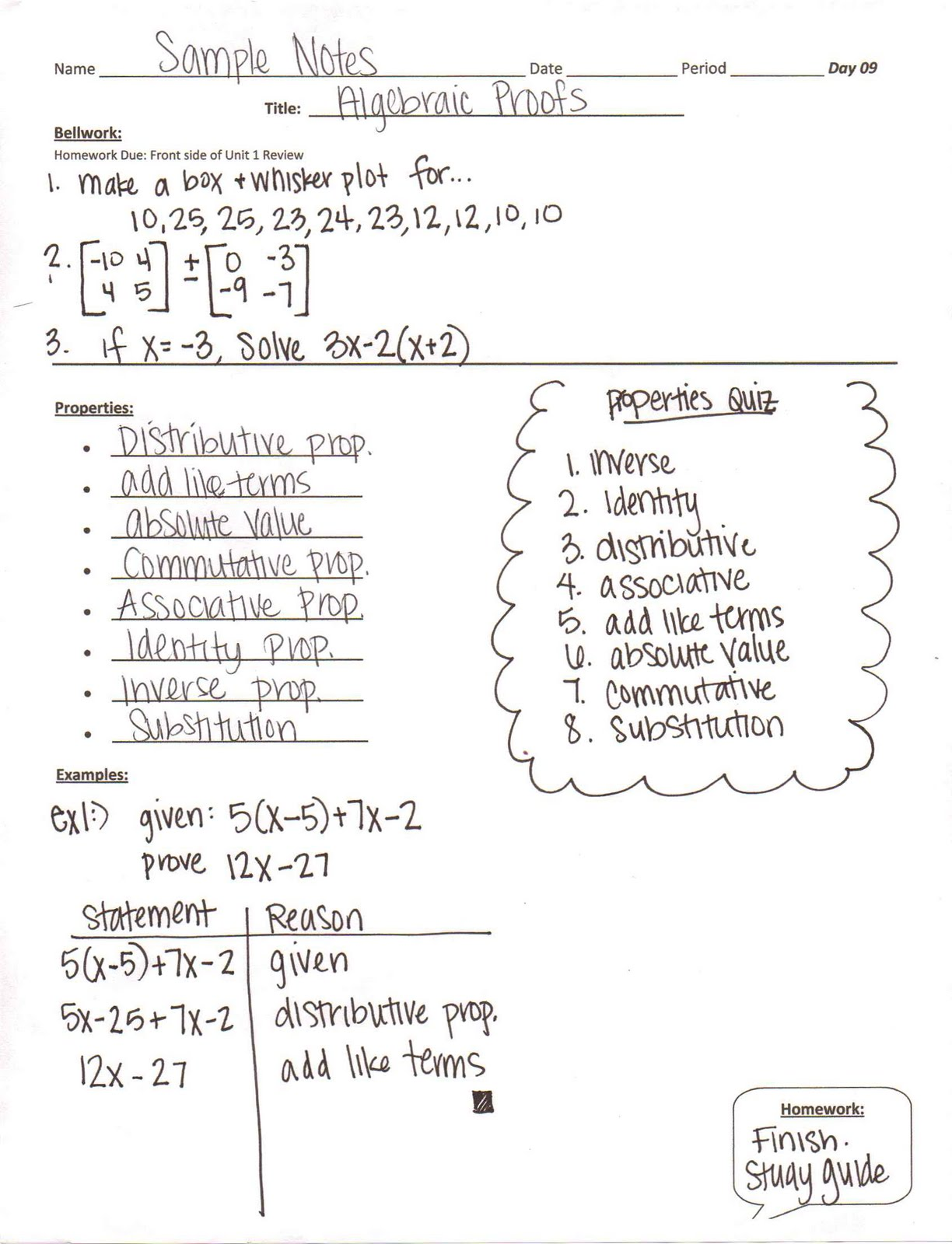 Algebra 1 Unit 1 Day 9 Algebraic Proofs