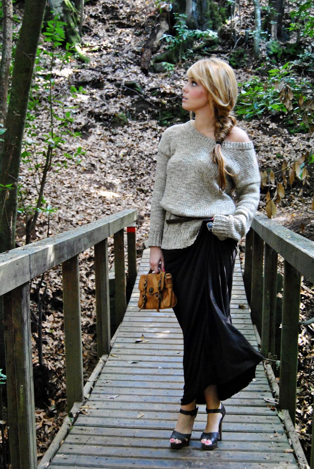 nery hdez, bohemian look, winter look, maxi  skirt, trenza, braid