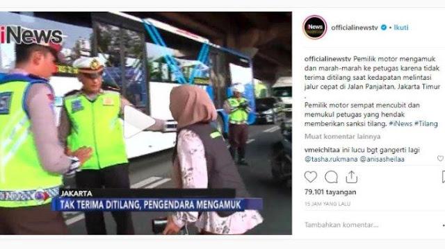 Viral! Video Wanita Mengamuk karena Tak Terima Ditilang, Sempat Pukul dan Cubit Polisi