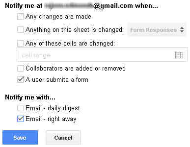 Notification rules dialogue box in Google drive