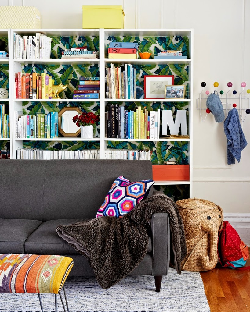 banana leaf wall paper bookcase