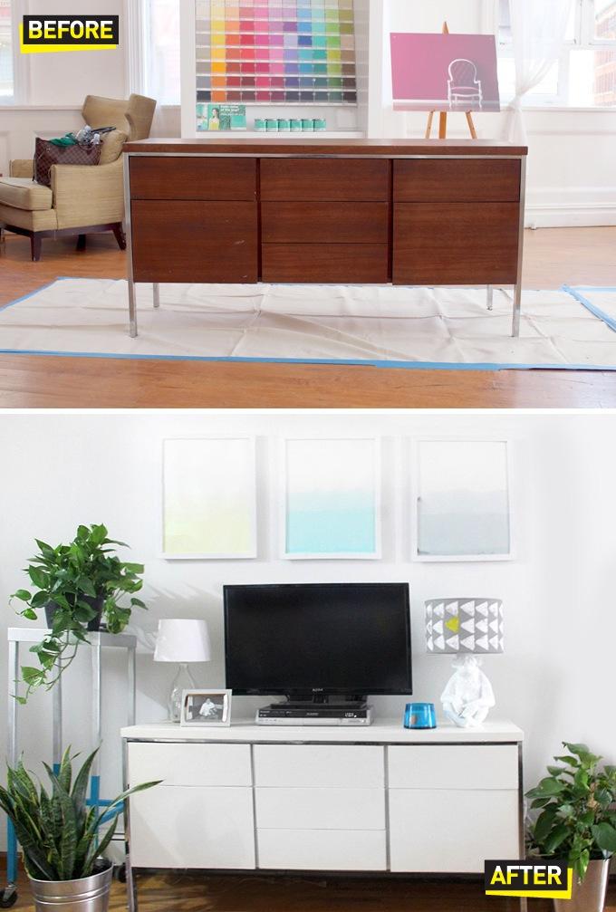 De madera a lacado en blanco antes y depues de un mueble for Mueble tv blanco y madera