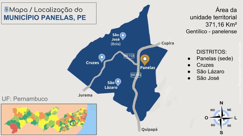 Panelas Pernambuco no mapa - informações geográficas do município