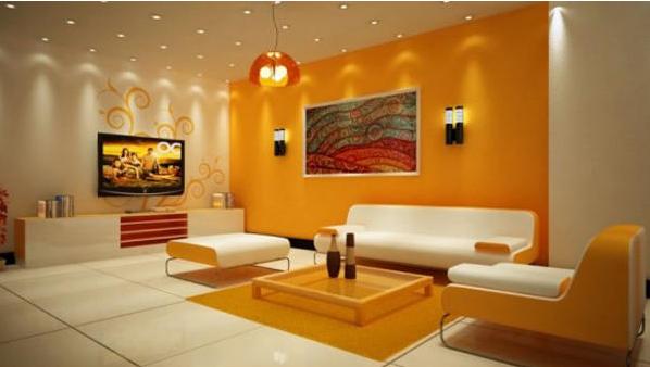 Ruang Tamu Nampak Luas Dengan Warna Ceria Seperti Kuning Dan Oren