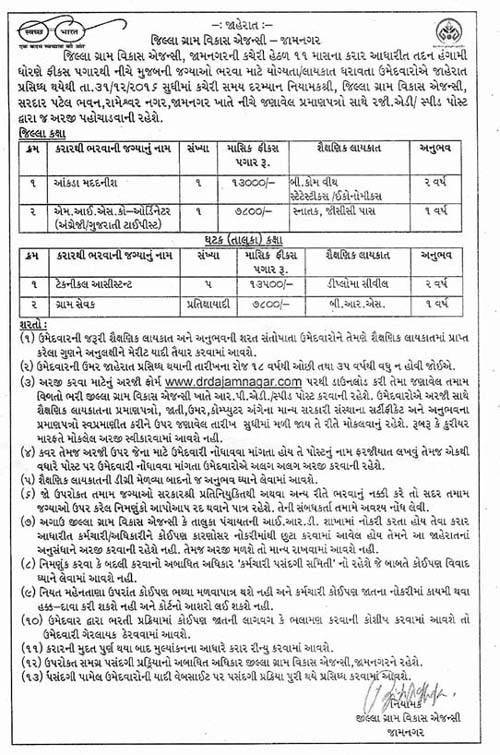 District Rural Development Agency (DRDA) Jamnagar Recruitment 2016-17 for Various Posts