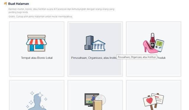 Pilihan Jenis Halaman Facebook