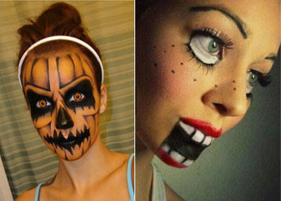 Como hacer un maquillaje de calabaza trato o truco - Calabazas de halloween pintadas ...