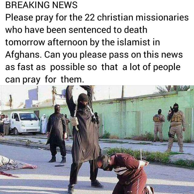 22 christian missionaries who have been sentenced to death
