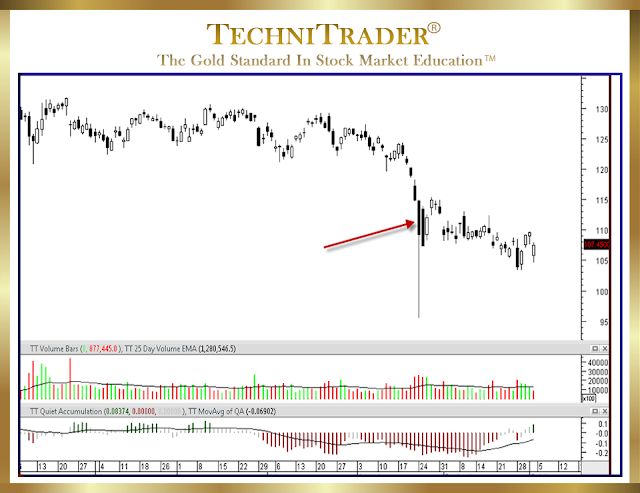 chart with red arrow showing an extraordinarily large indecision day candle - technitrader