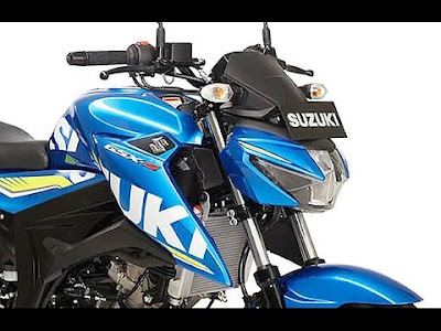 Suzuki GSX-S150 blue close up image