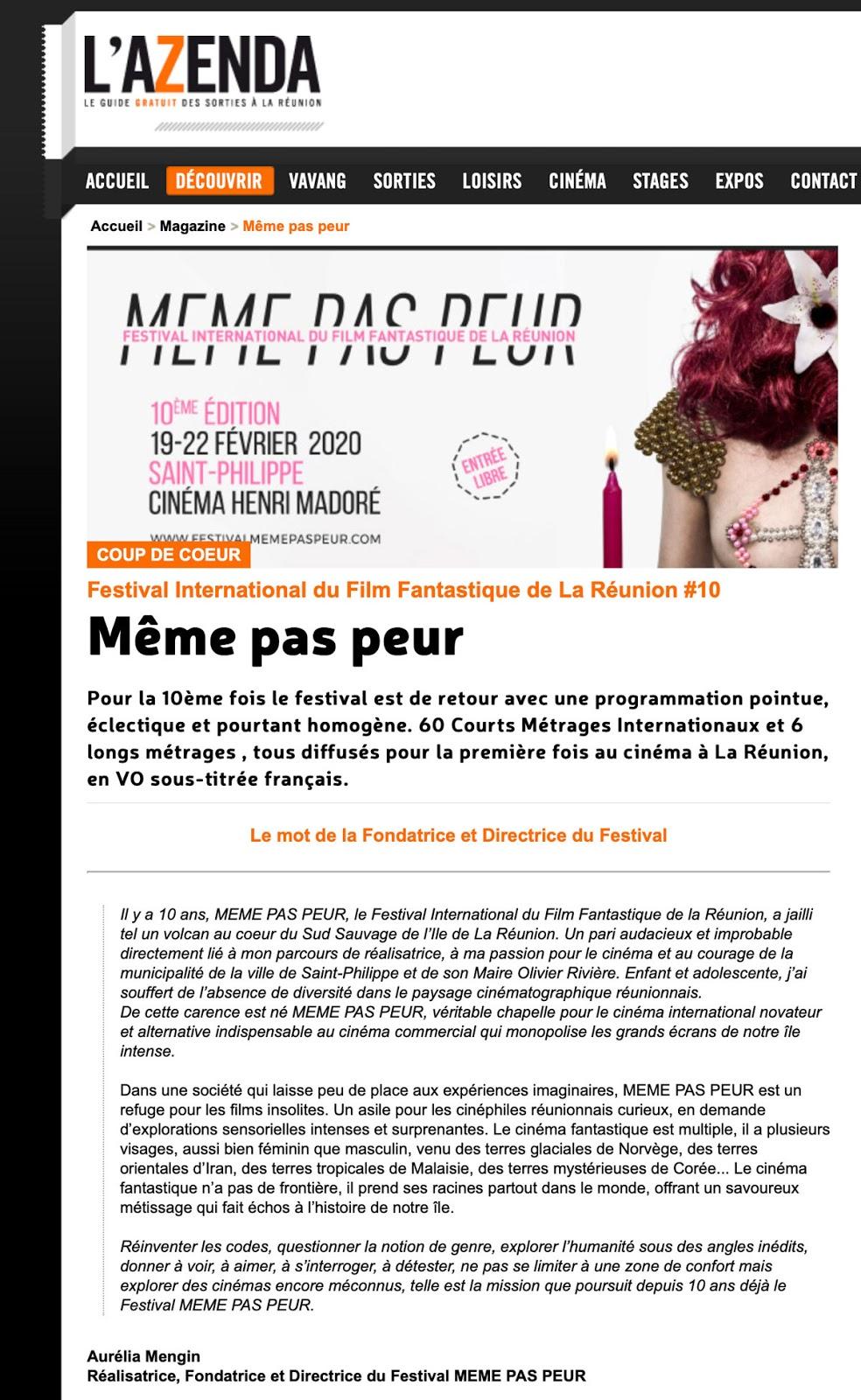 La 10ème édition du Festival MEME PAS PEUR dans L'AZENDA