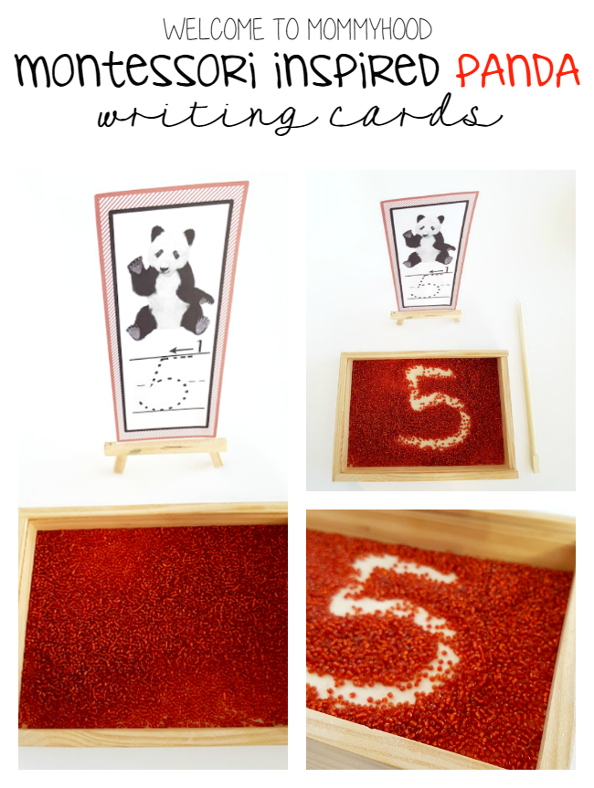 Montessori Inspired sand tray writing cards by Welcome to Mommyhood #printables, #homeschool, #montessori, #montessoriactivities, #writing, #preschoolactivities #kindergartenprintables, #totlabs