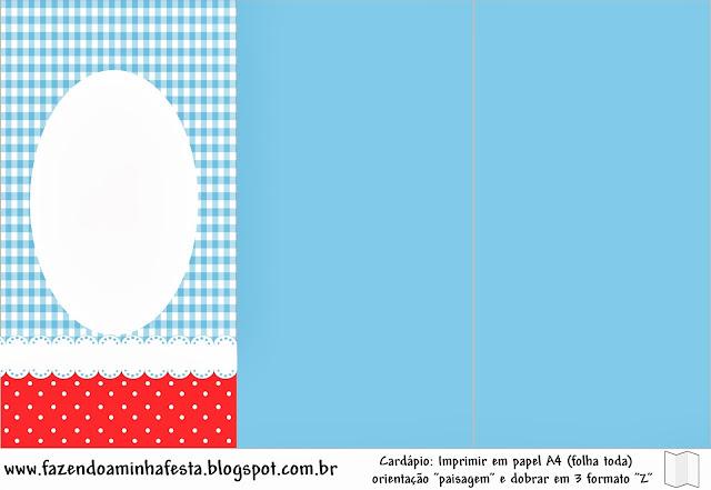 Cuadros Celestes, Rojo y Lunares Blancos: Imprimibles Gratis para Fiestas.