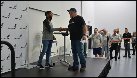 Darrell 'Bubba' Wallace visits with employees at the Mack Lehigh Valley Operations
