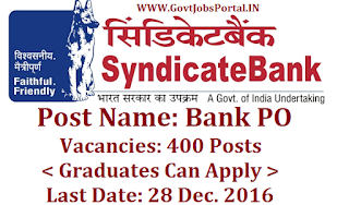 Syndicate Bank PO Recruitment 2016-17