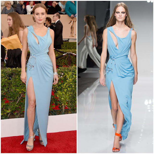 WHO WORE WHAT?.....2016 SAG Awards Red Carpet: Brie Larson in Atelier Versace Spring/Summer 2016