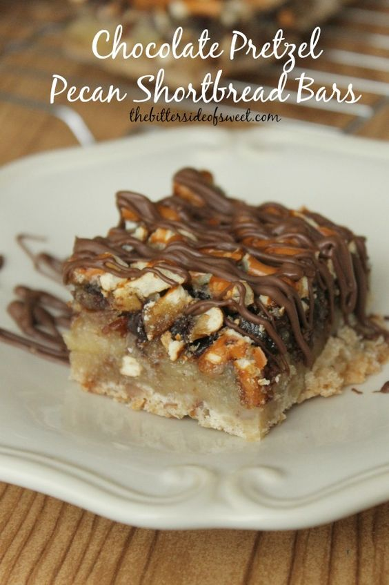 Chocolate Pretzel Pecan Shortbread Bars | FoodGaZm..