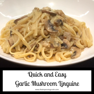 Garlic Mushroom Linguine pinnable image