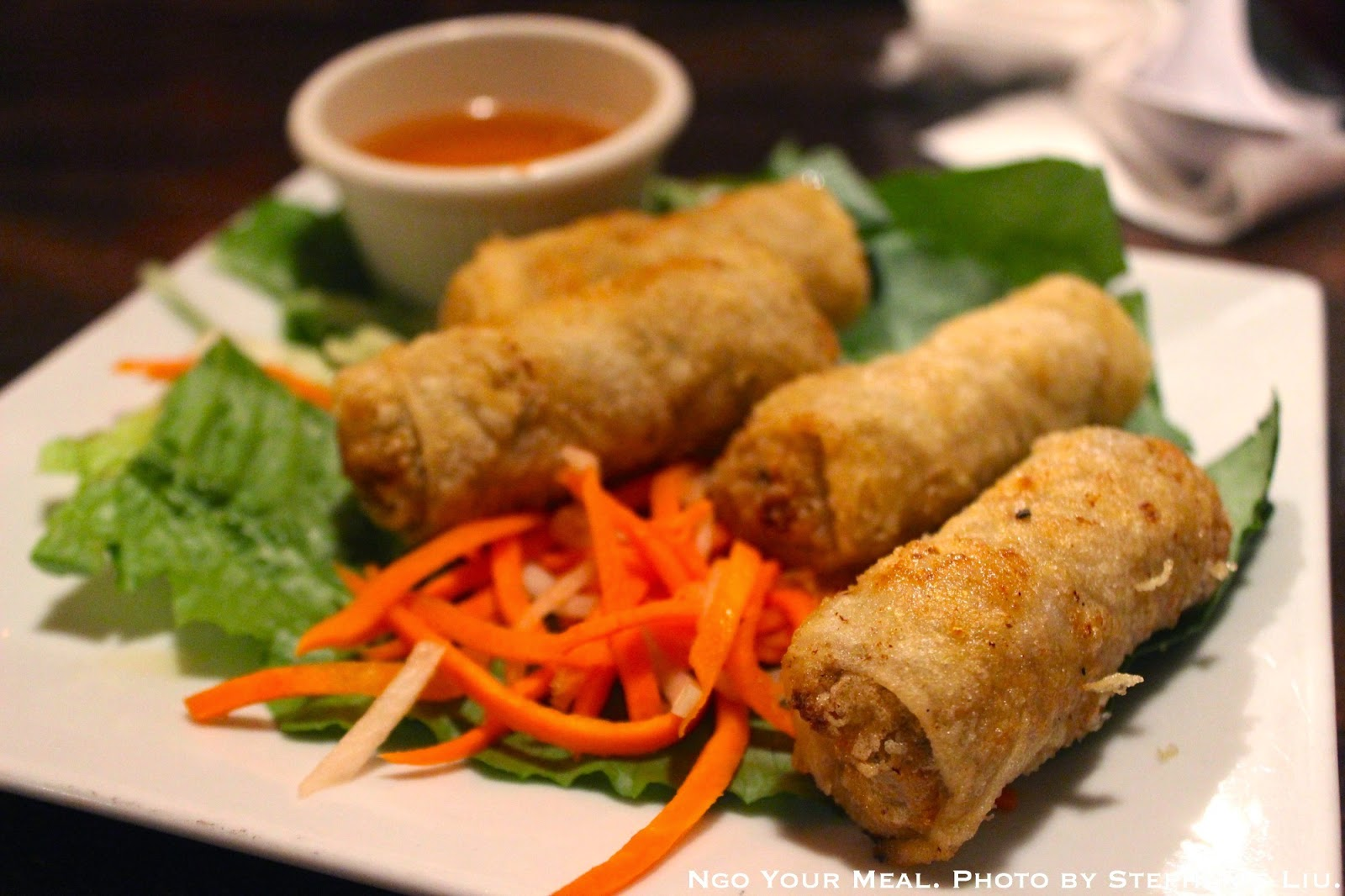 Fried Spring Rolls: Minced Pork, Shrimp, and Glass Noodles wrapped in Rice Paper at Saigon Shack.